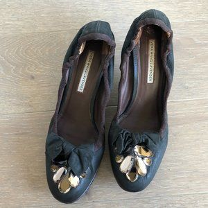 Vera Wang Lavender Vero Cuoio Leather Heels with Bow + Jewels Black Size 9.5M